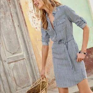 Boden Striped Popover Shirt Dress Size 12 Long